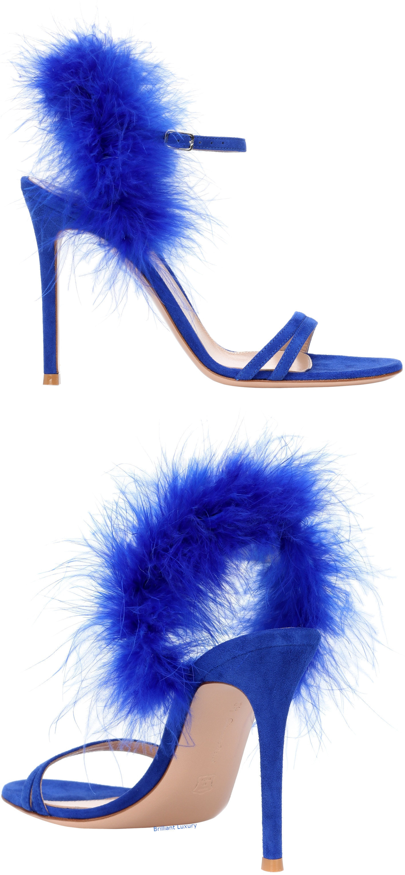 Gianvito Rossi Thais blue feather-trimmed suede sandals