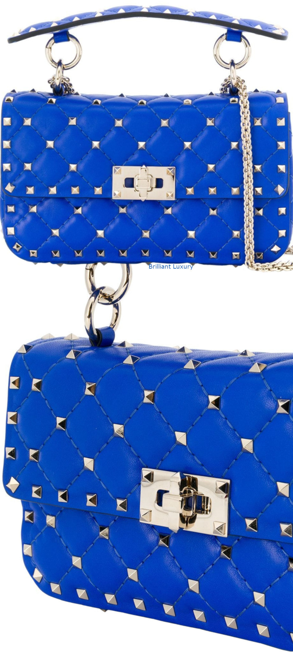 Valentino Garavani Rockstud spike blue crossbody bag