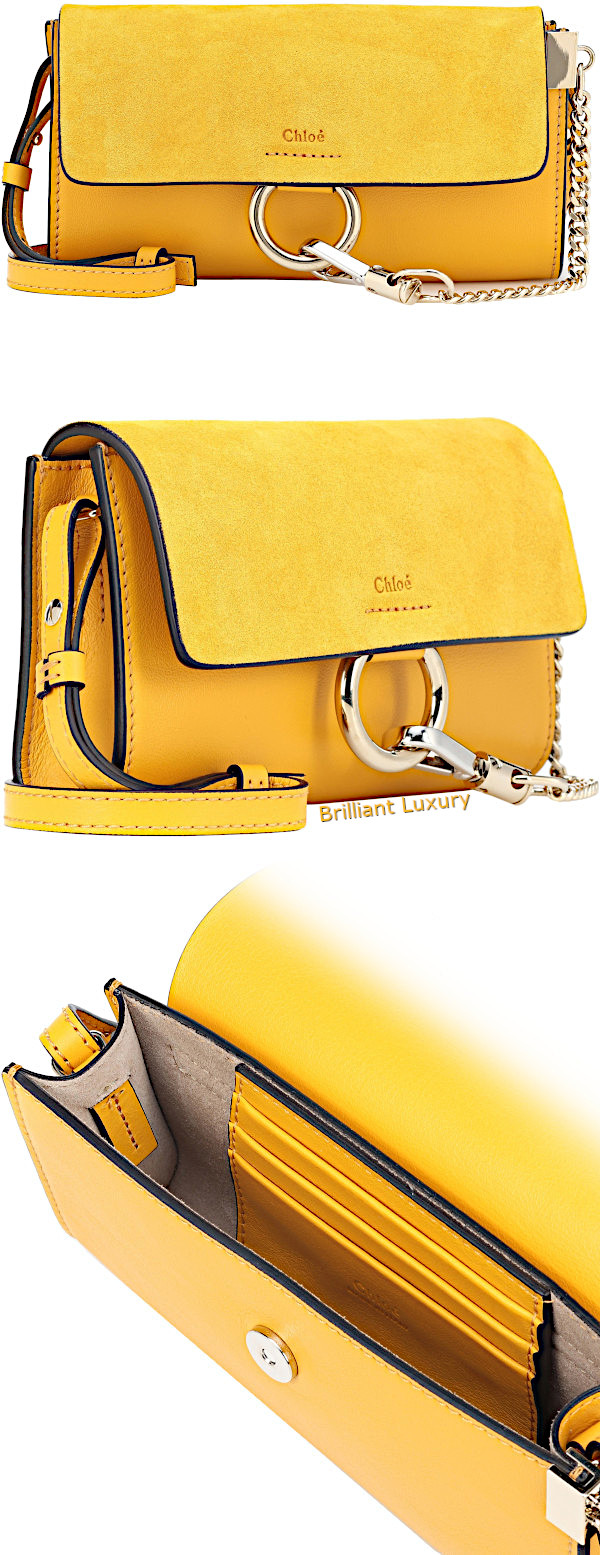 Chloé Faye mini leather wallet bag in yellow