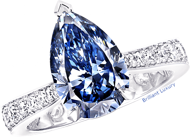 Graff pear shape blue diamond ring