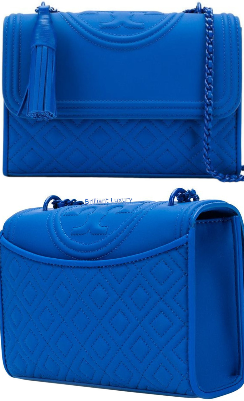 Tory Burch Flemming blue matte shoulder bag