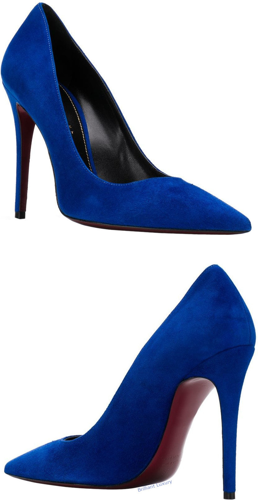 Deimille blue pointed slip-on pumps