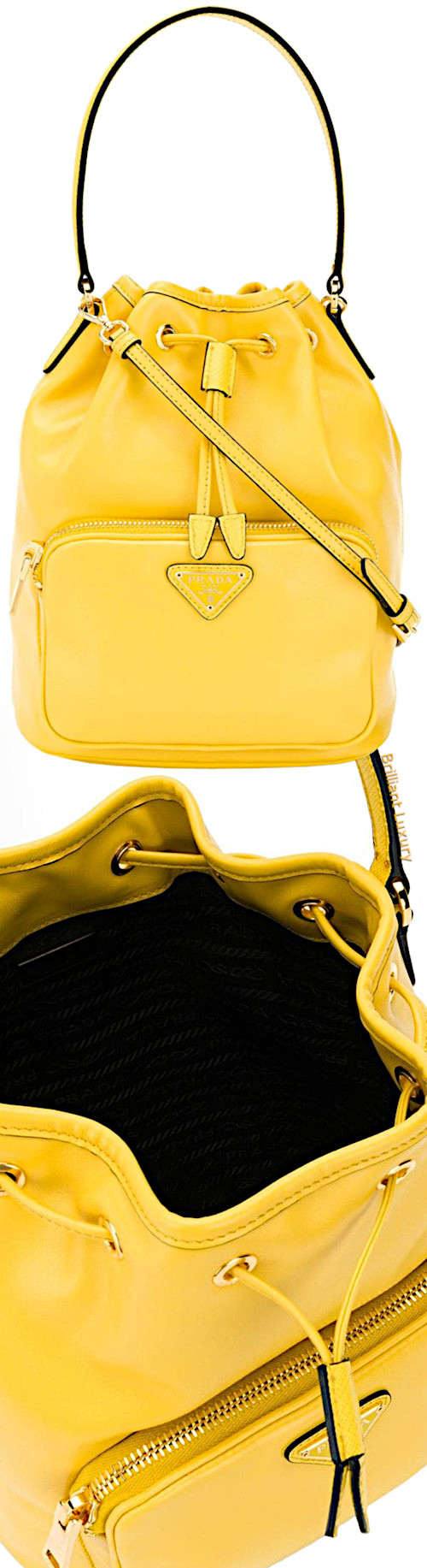 Prada logo plaque bucket bag in yellow