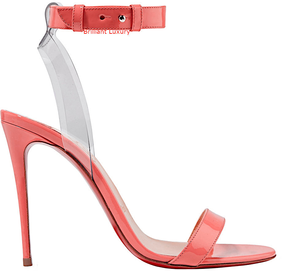Christian Louboutin Jonatina 100 PVC-trimmed patent-leather sandals in coral