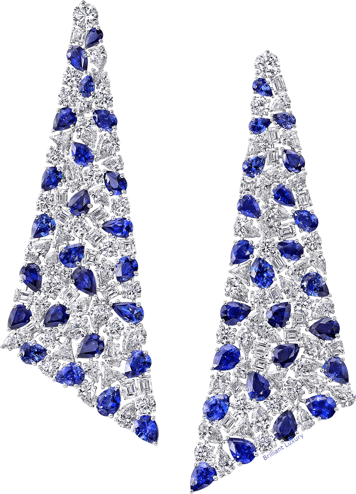 Graff Pantone Princess Blue Jewelry sapphire and diamond earrings