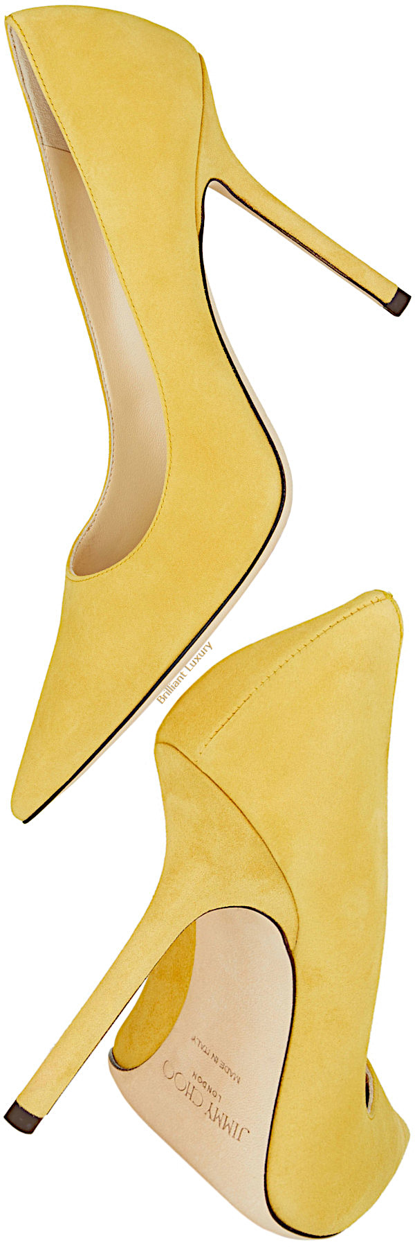 Jimmy Choo Love suede pointy toe pumps in yellow