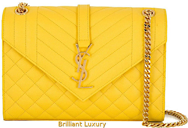 Saint Laurent Envelope medium shoulder bag in Pantone color aspen gold