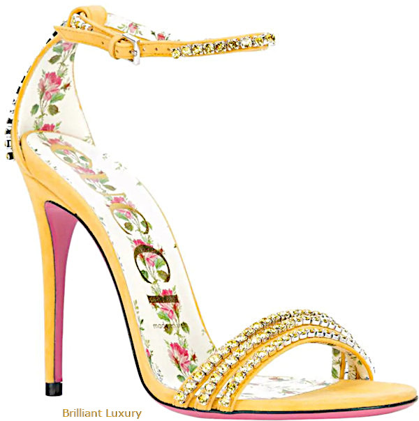 Gucci Ilse crystal embellished sandals in yellow