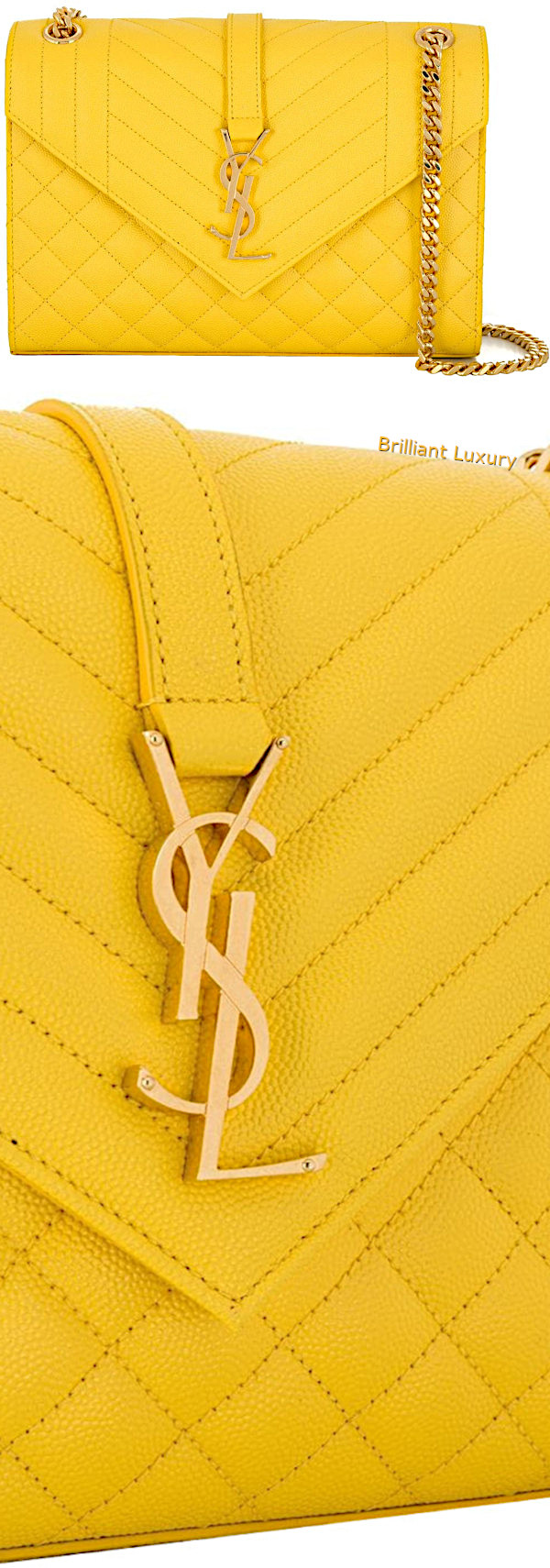 Saint Laurent Envelope medium shoulder bag in yellow