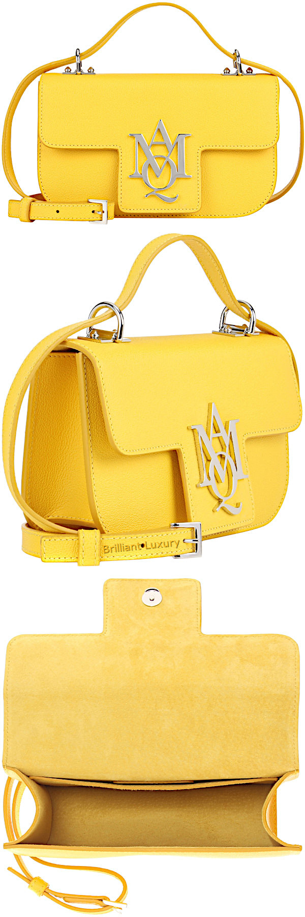 Alexander McQueen Insignia crossbody leather satchel in yellow