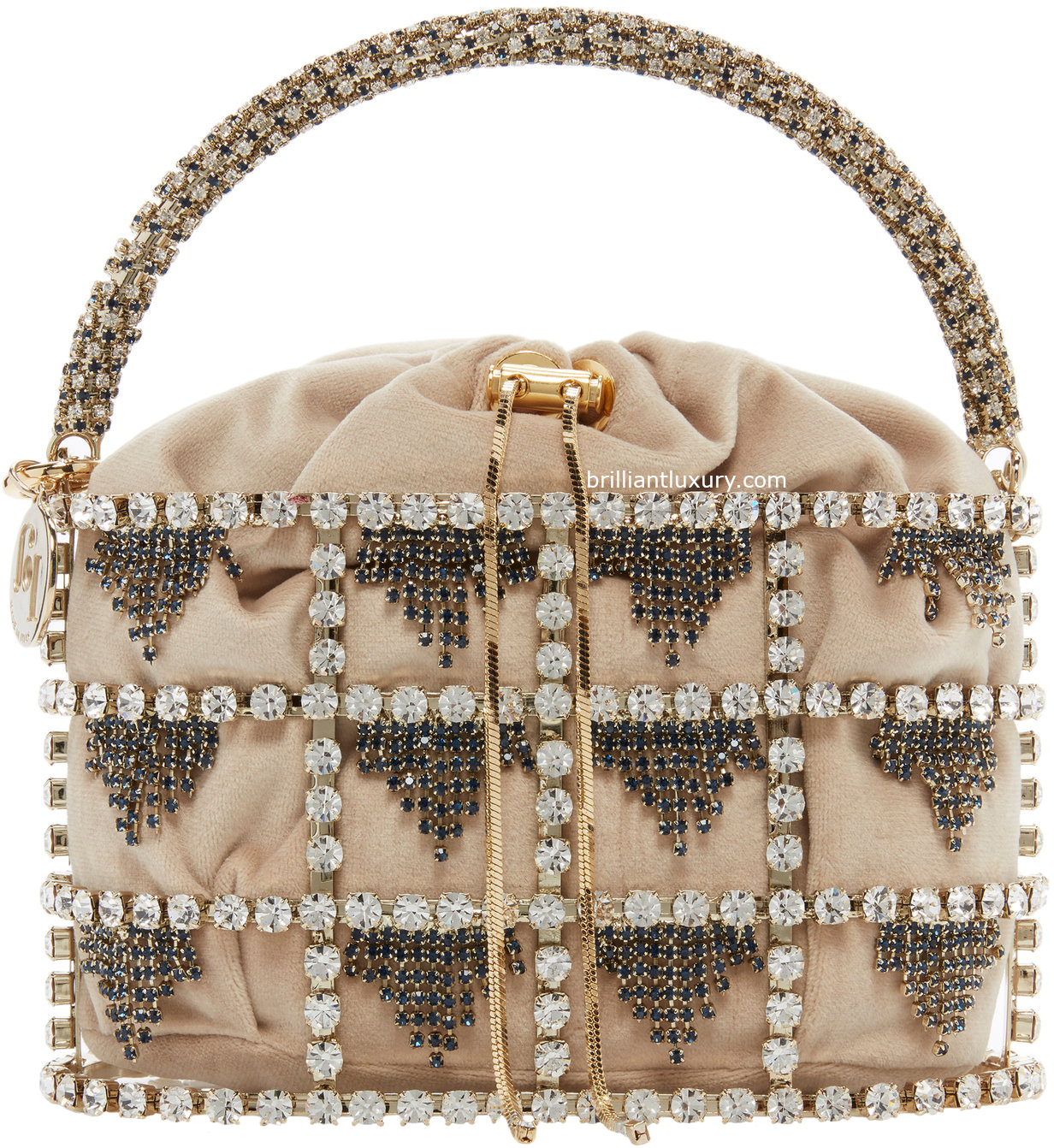 Rosantica Minerva crystal embellished brass perfect evening handbag
