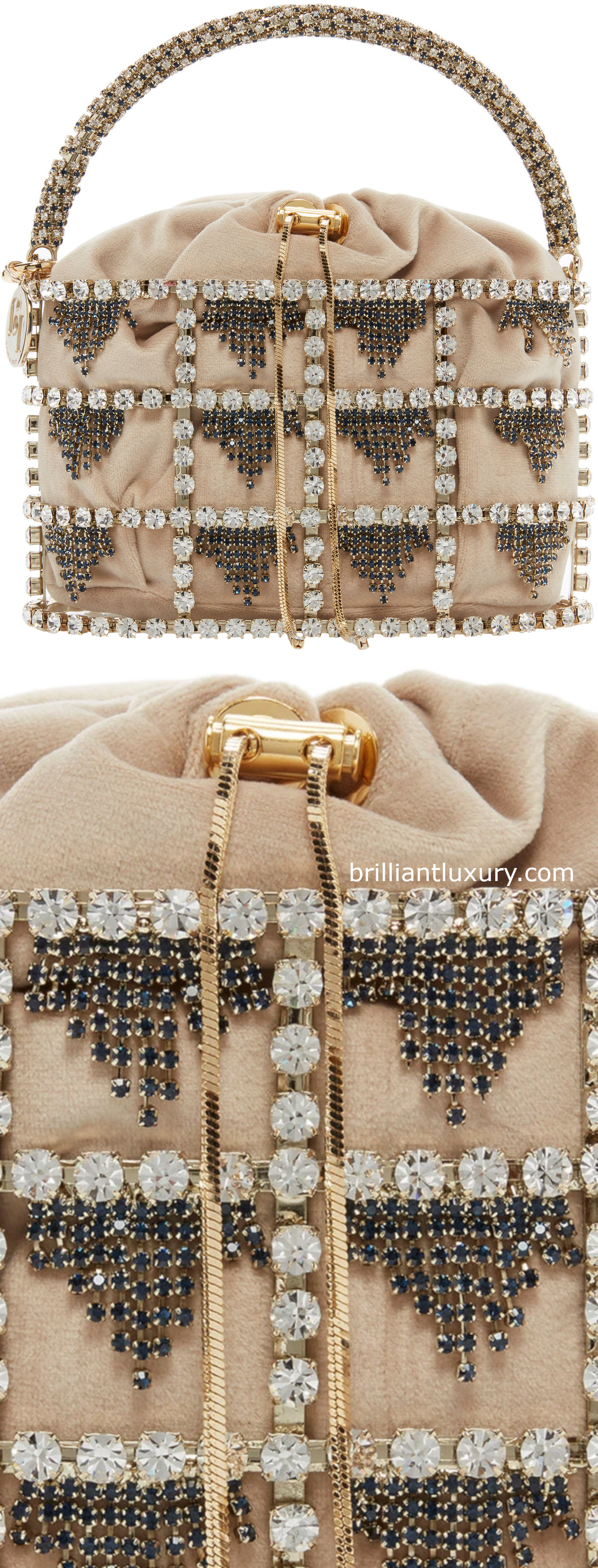 Rosantica Minerva crystal embellished brass bag