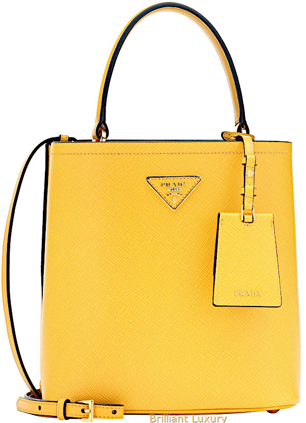 Prada double medium leather tote in Pantone color aspen gold