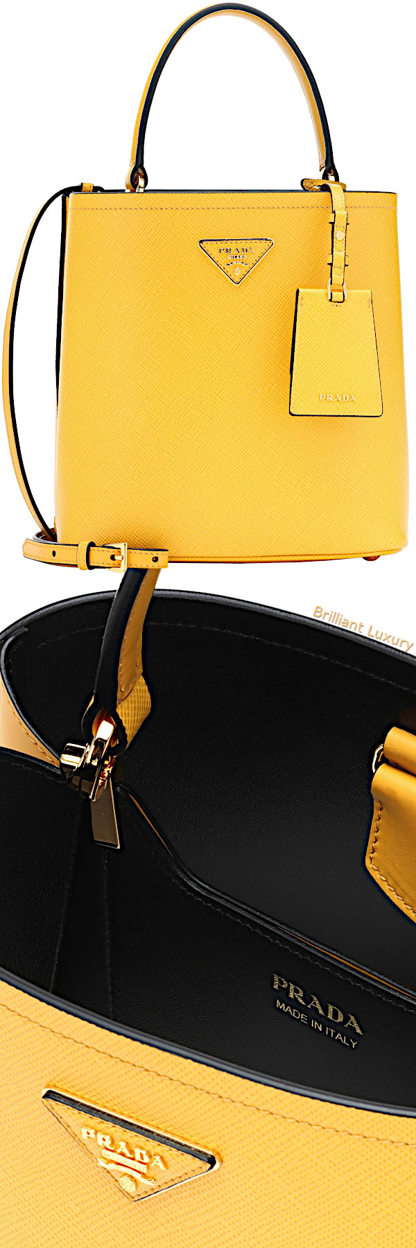 Prada double medium leather tote in yellow