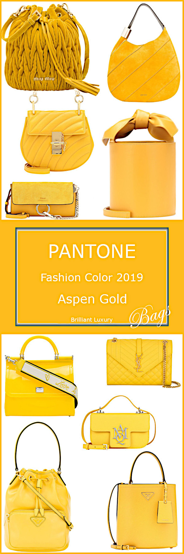 Pantone Color Aspen Gold Bags