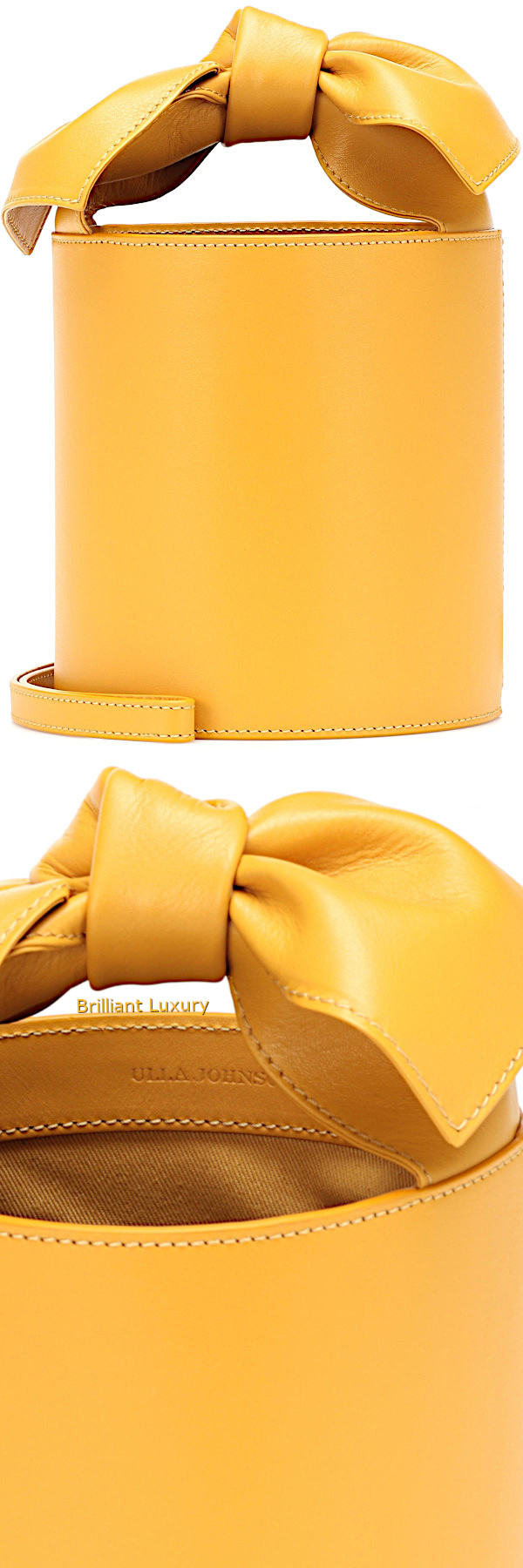 Brilliant Luxury│Ulla Johnson Sophie mini leather bucket bag in yellow