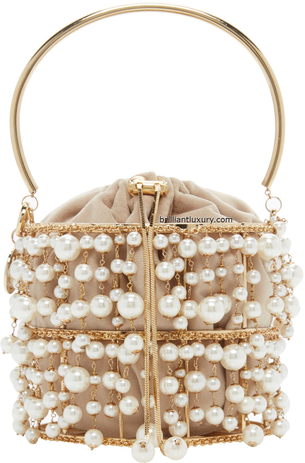 Rosantica Rea pearl embellished brass perfect evening handbag