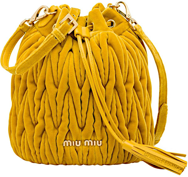Miu Miu Matelassé bucket bag in Pantone color aspen gold
