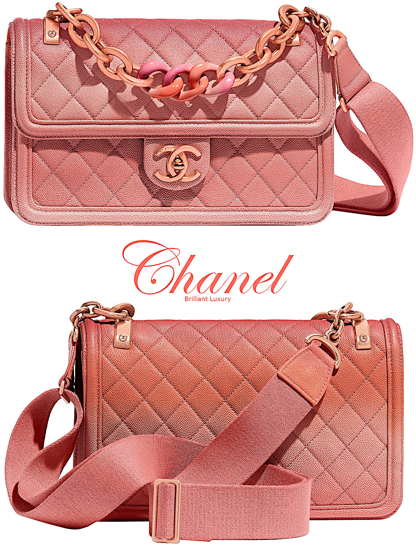 Chanel quilted ombre coral bag