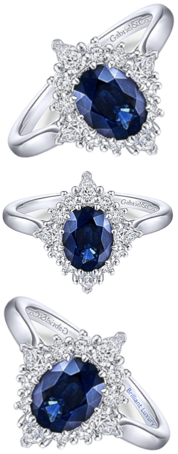 Gabriel Ridley 14k white gold oval halo sapphire engagement ring