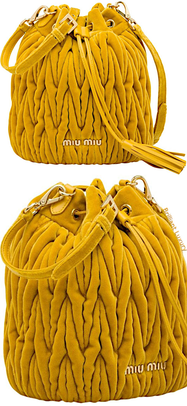 Miu Miu Matelassé bucket bag in yellow