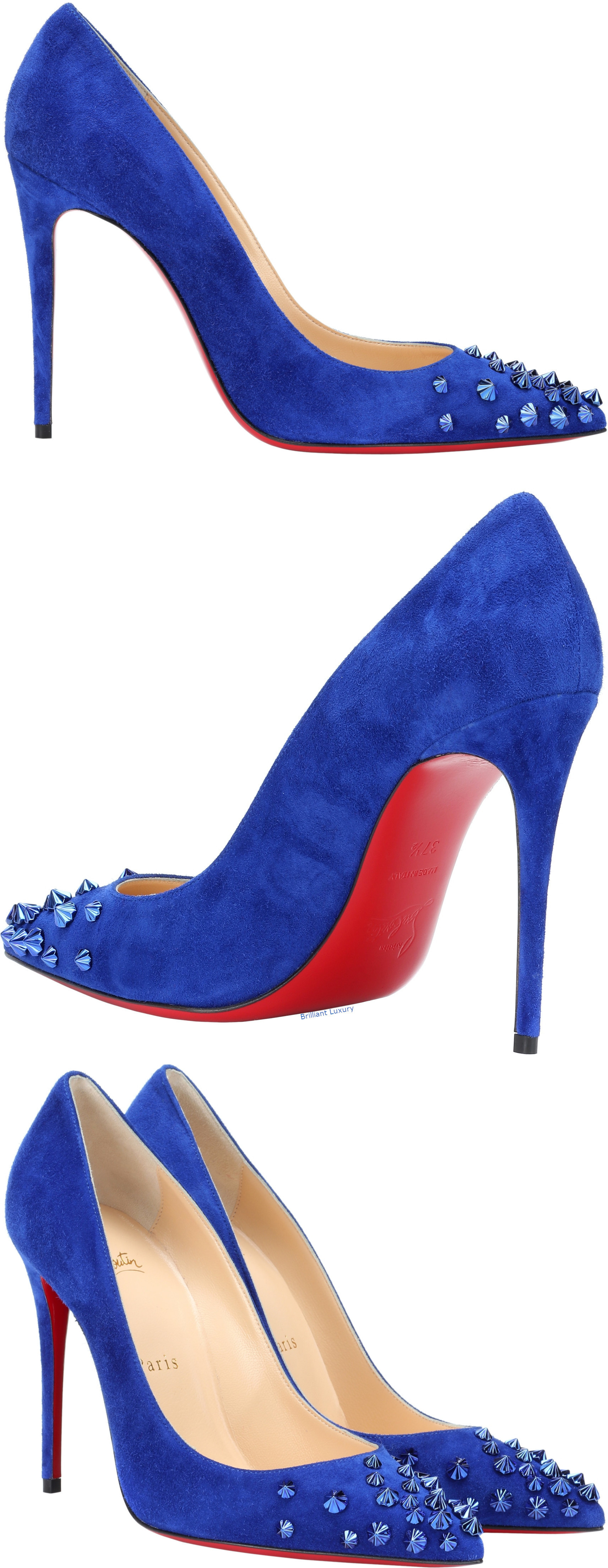 Christian Louboutin Drama 100 suede pumps in blue