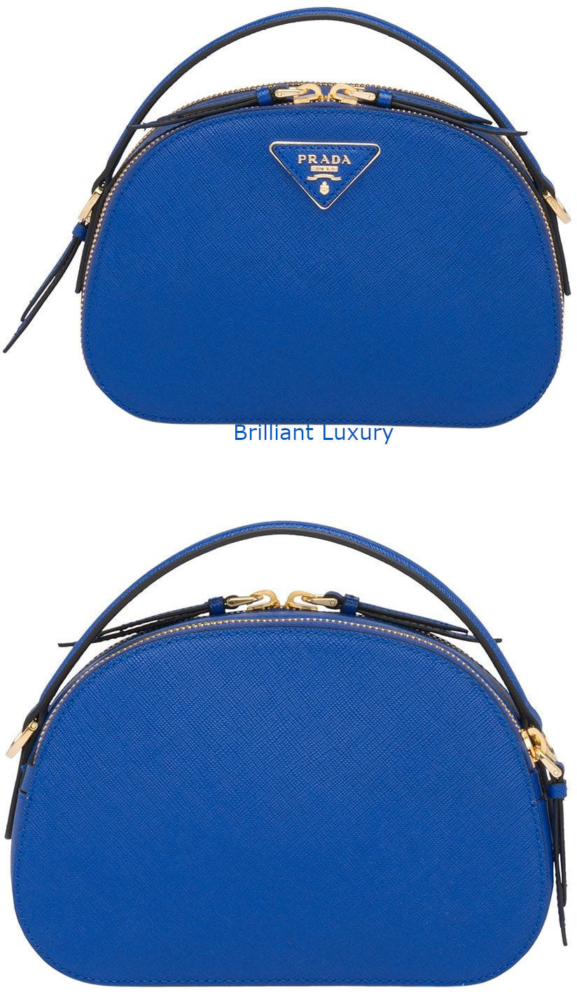 Prada Odette blue saffiano leather bag