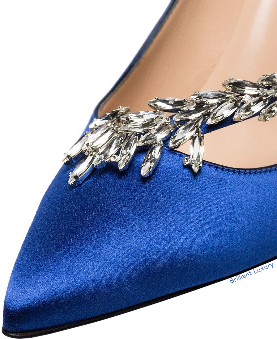 Manolo Blahnik Nadira satin ribbon crystal pumps in Pantone Color Princess Blue