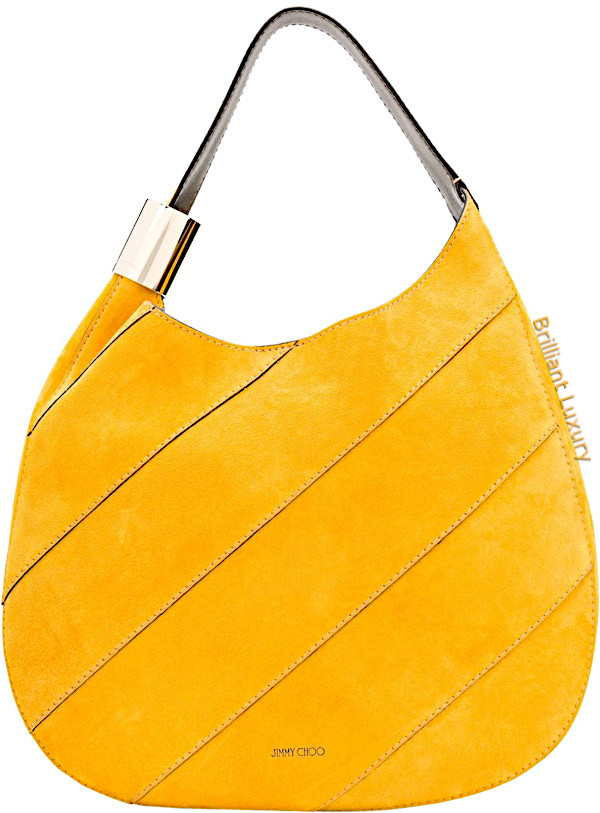 Jimmy Choo Stevie saffron suede shoulder bag with stitching and elaphe in Pantone color aspen gold
