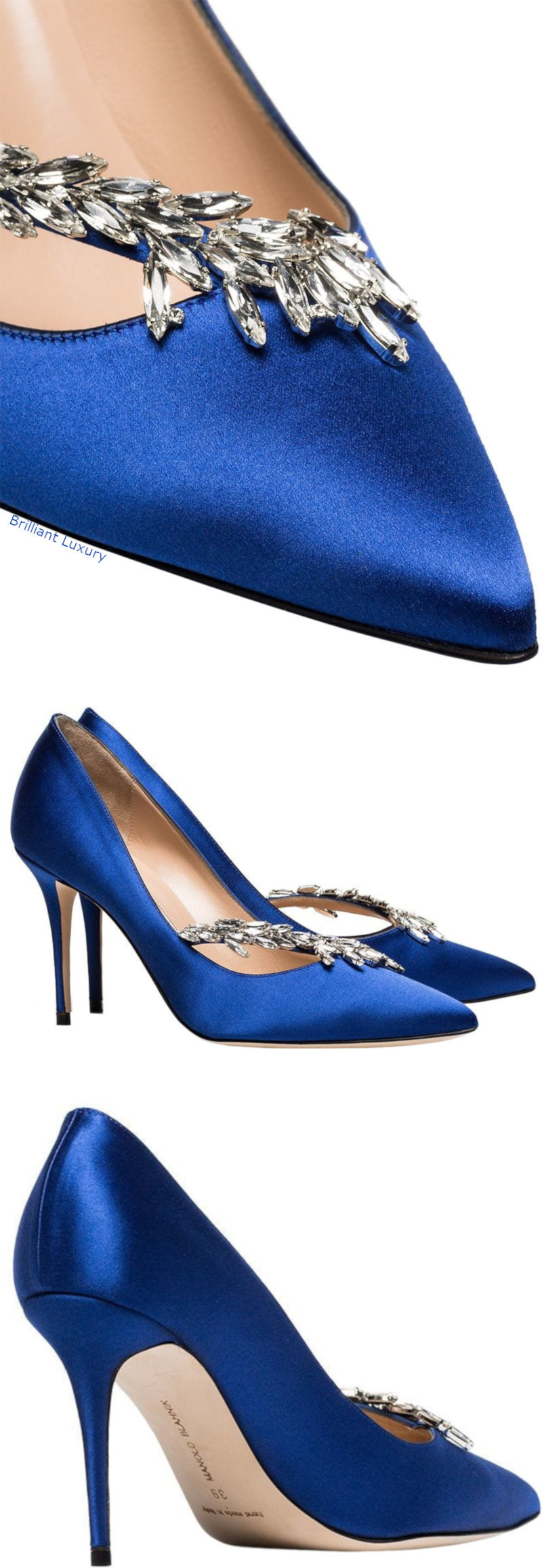 Manolo Blahnik blue Nadira satin ribbon crystal pumps
