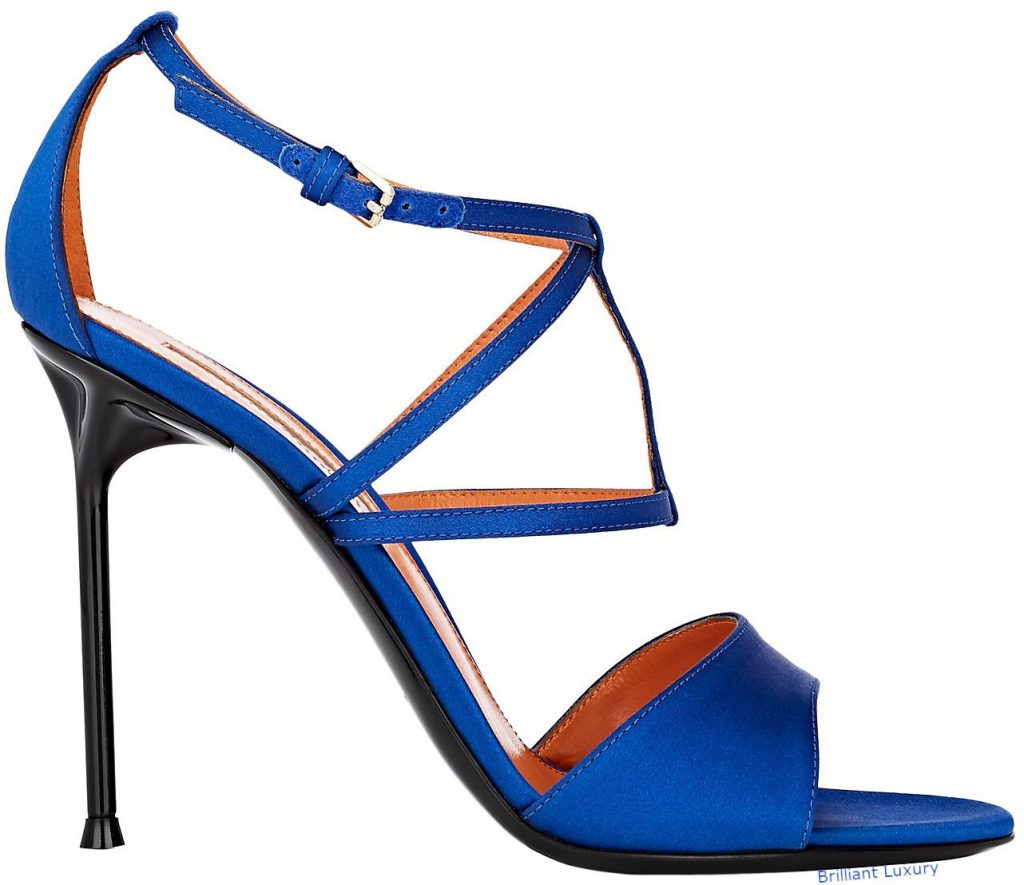 Walter de Silva Luna satin crisscross-strap sandals in Pantone Color Princess Blue