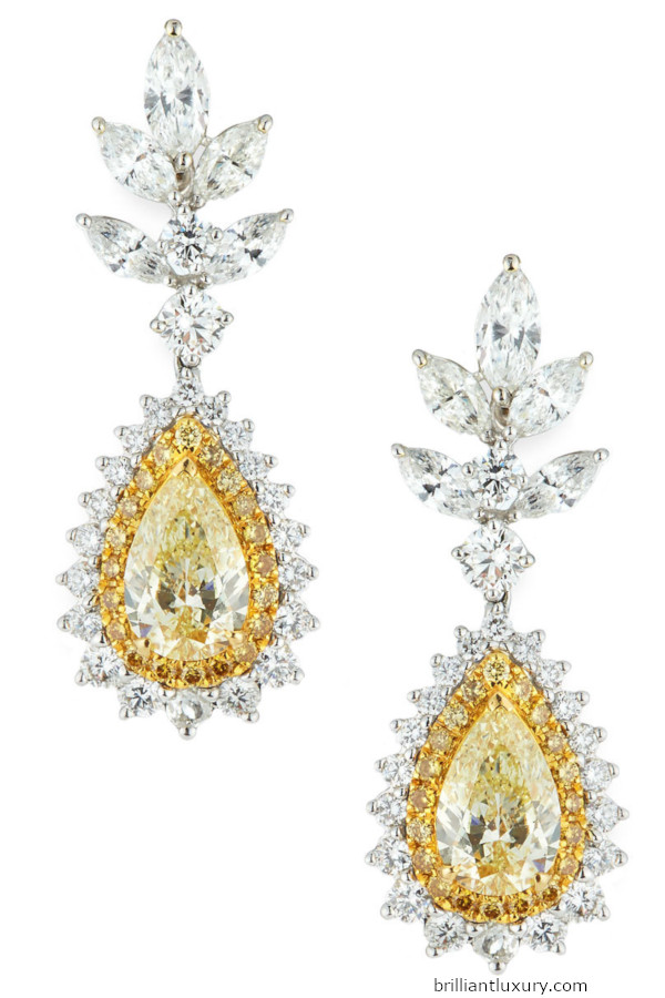 Alexander Laut 18k white gold diamond and yellow sapphire earrings