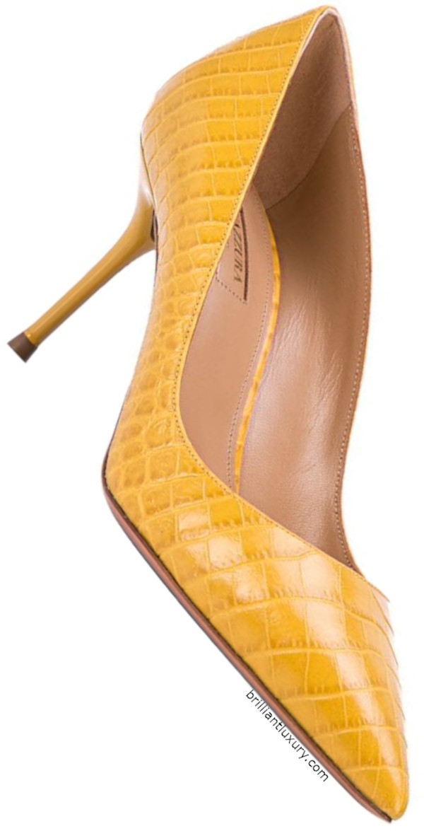 Aquazzura Purist embossed crocodile effect pumps in Pantone Color Saffron