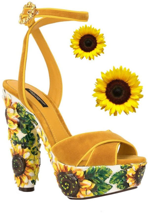 Dolce and Gabbana sunflower print platform sandals in Pantone Color Saffron