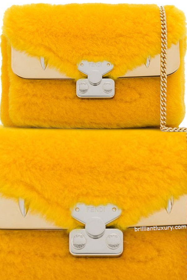 Fendi lamb-fur shoulder bag in Pantone Color Saffron