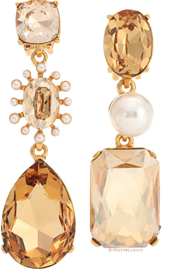 Oscar de la Renta mixed jewel clip-on earrings