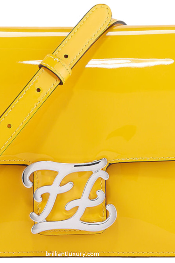 Fendi Karligraphy shiny shoulder bag in Pantone Color Saffron
