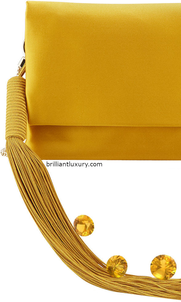 Galvan London satin shoulder tassel bag in Pantone Color Saffron