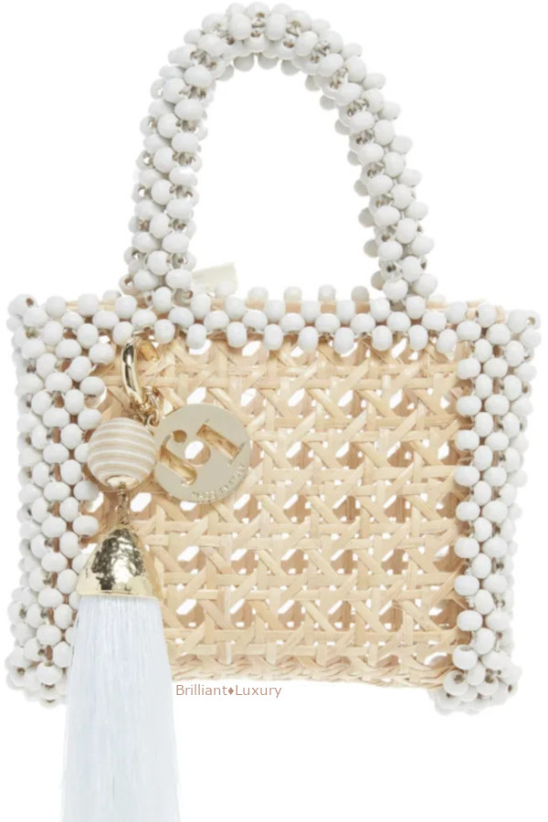 Rosantica Alida elegant neutral mini beaded wicker top handle bag