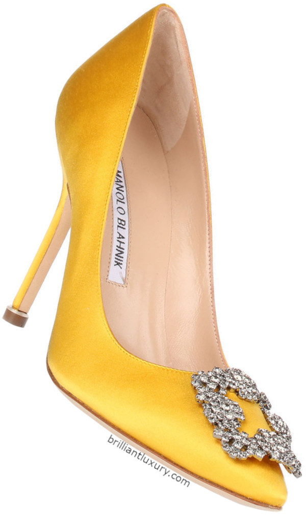 Manolo Blahnik Hangisi bejeweled satin pumps in Pantone Color Saffron