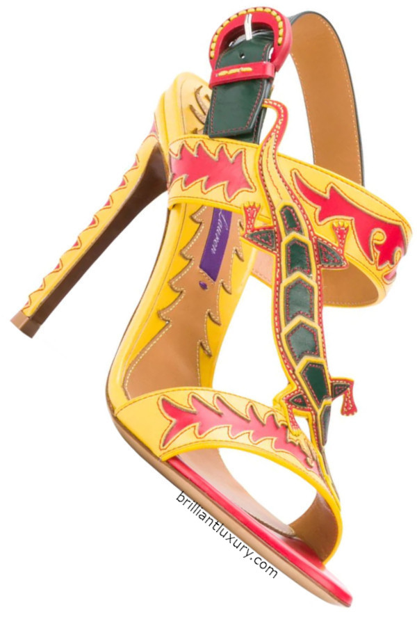 Ralph Lauren yellow colorful lizard strap stiletto sandals
