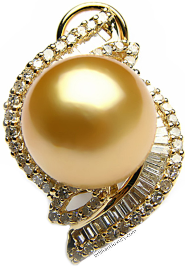 wYellow south sea pearl and diamond earrings