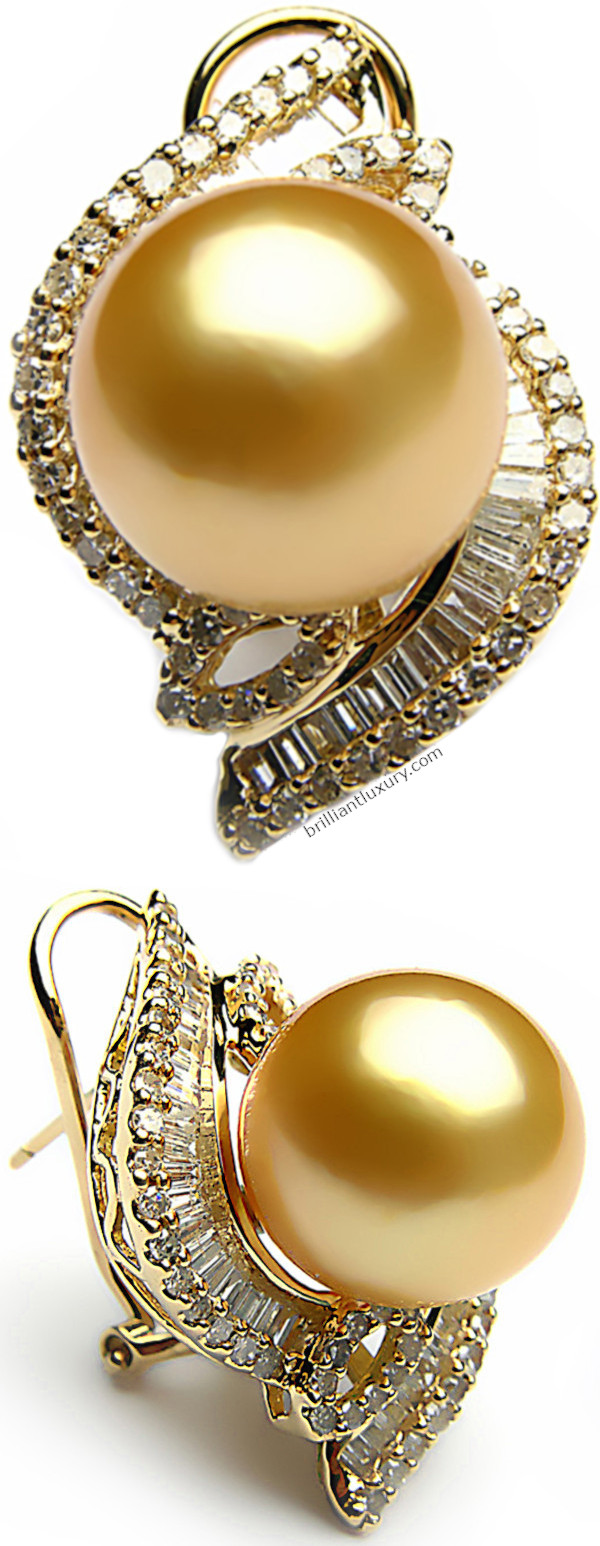 Yellow south sea pearl and diamond earrings