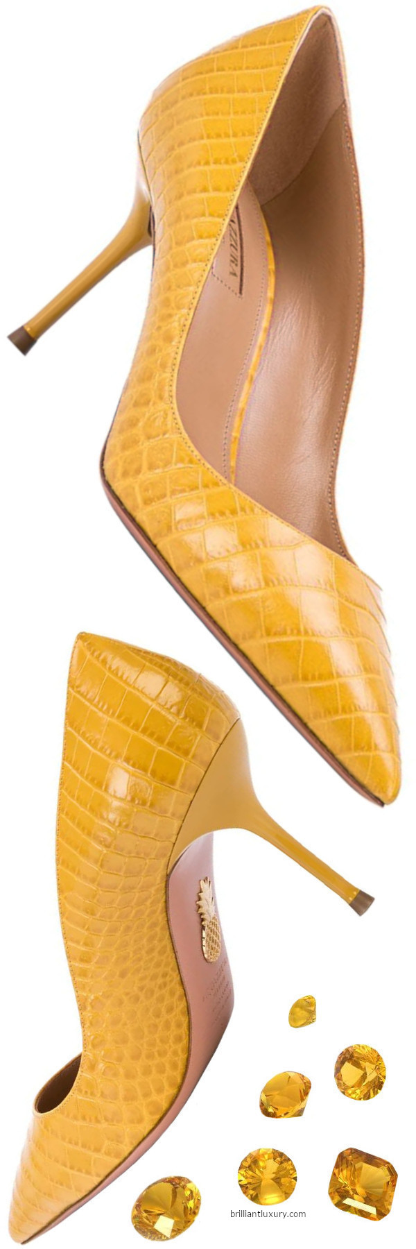 Aquazzura Purist yellow embossed crocodile effect pumps
