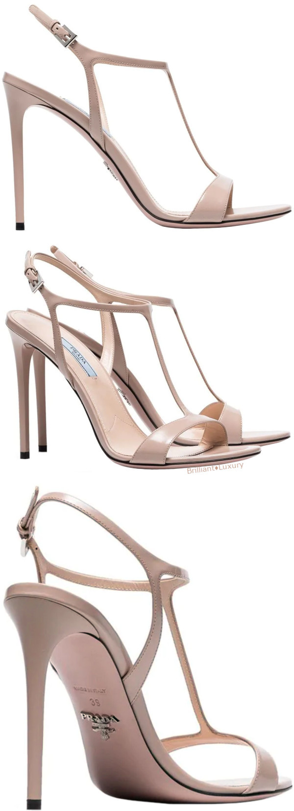 Prada T-bar elegant neutral leather sandals