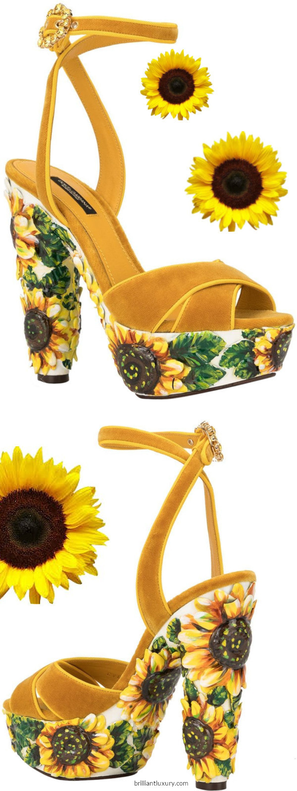 Dolce and Gabbana yellow sunflower print platform sandals