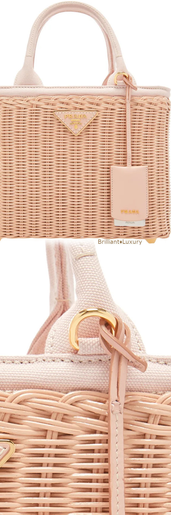 Prada Raffia elegant neutral woven tote bag