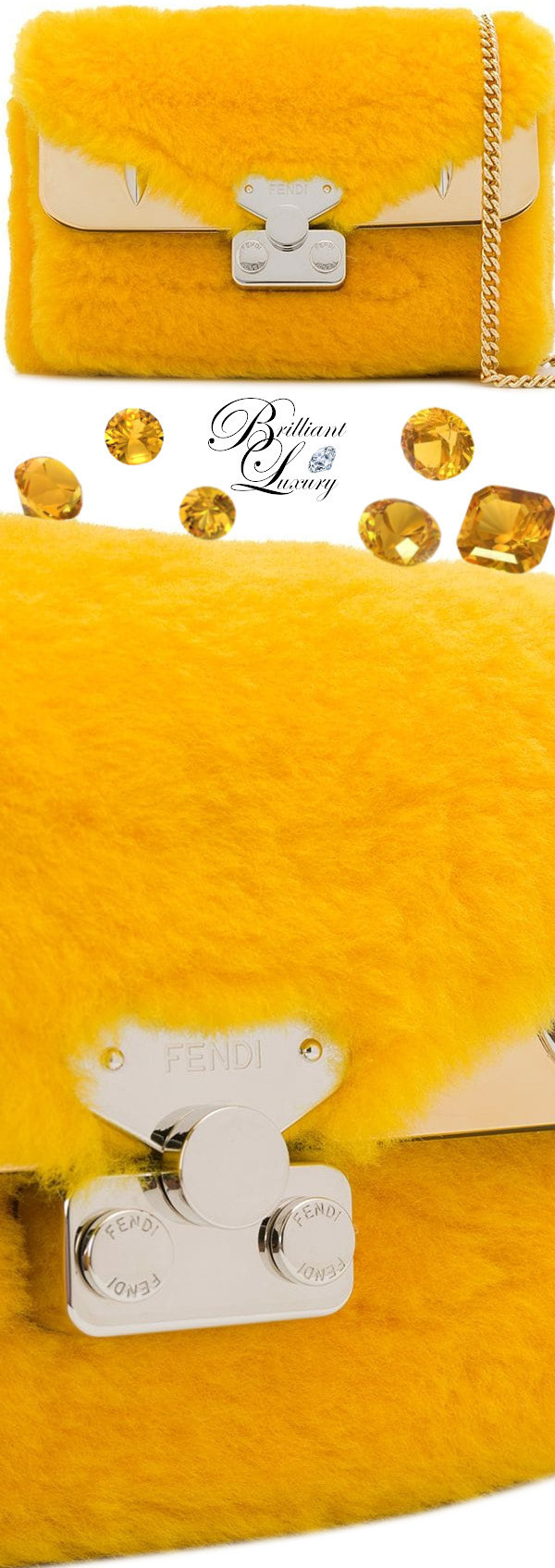 Fendi yellow lamb-fur shoulder bag