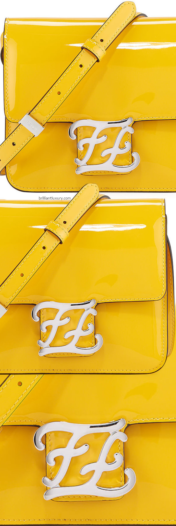 Fendi Karligraphy yellow shiny shoulder bag