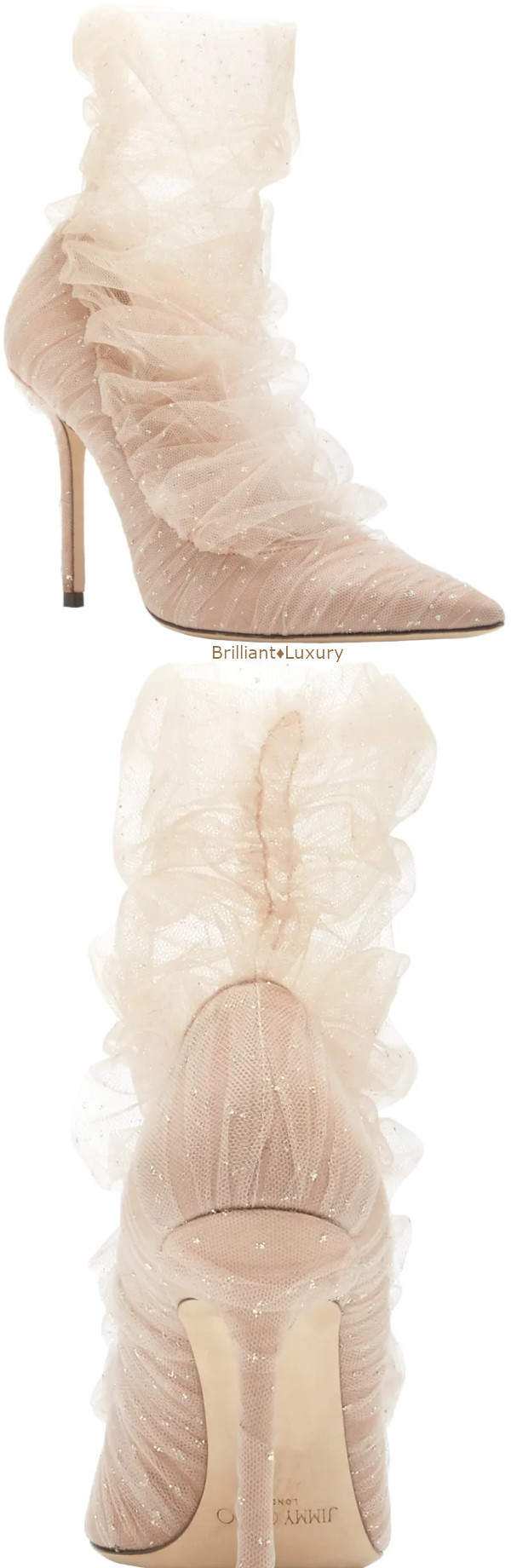 Jimmy Choo Lavish tulle-paneled elegant neutral suede pumps